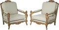 Furniture : Continental, A Pair of Italian Painted and Partial Gilt Carved Wood Armchairs,20th century. 38-3/4 h x 32 w x 30-1/2 d inches (98.4 x 81...(Total: 2 Items)
