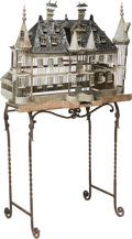 Decorative Arts, French, A Large French Chateau-Form Painted Birdcage on Wrought Iron Stand,early 20th century. 56-1/2 h x 33 w x 18 d inches (143.5... (Total:2 Items)