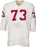 Football Collectibles:Uniforms, 1970-72 John Hannah Game Worn, Signed Alabama Crimson Tide Jersey, MEARS A8....