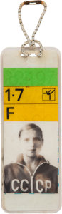 Olympic Collectibles:Autographs, 1972 Olga Korbut Worn Olympics ID Badge and Ponytail Band from The Olga Korbut Collection. ...