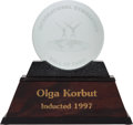 Olympic Collectibles:Autographs, 1997 International Gymnastics Hall of Fame Trophy Presented to OlgaKorbut from The Olga Korbut Collection....