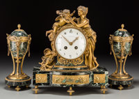 A French Louis XVI-Style Gilt Bronze and Variegated Marble Clock Garniture Retailed by Tiffany & Company, late 1...