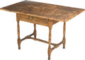 Furniture , An American Colonial Maple and Pine Single-Drawer Tavern Table, New England, circa 1750-1780. 26 h x 42 w x 24-1/2 d inches ...