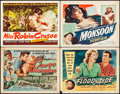 "Movie Posters:Adventure, Congo Crossing & Others Lot (Universal International, 1956).Title Lobby Cards (4) (11"" X 14""). Adventure.. ... (Total: 4 Items)"