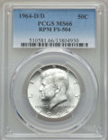 Kennedy Half Dollars, 1964-D/D 50C Repunched Mintmark, FS-504 MS66 PCGS. PCGS Population:(5/0). Mintage 156,205,440....