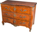 Furniture : French, A French Régence-Style Mahogany and Satinwood Inlaid Commode, late19th century. 39-1/4 h x 51 w x 25-1/8 d inches (99.7 x 1...