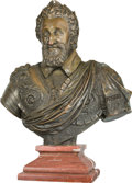 Bronze:European, A Patinated Bronze Bust of Henri IV, after Barthélemy Tremblay,20th century. Marks: Barthélemy Tremblay. 31-1/2 inches ...