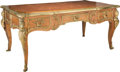 Furniture : French, A Régence-Style Fruitwood and Gilt Bronze-Mounted Bureau Plat, late20th century. 31 h x 69 w x 36-3/4 d inches (78.7 x 175....