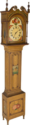 An American Late Federal Fancy Painted Pine and Poplar Tall Case Clock, circa 1825