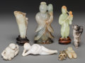 Asian:Chinese, A Group of Seven Carved Jade, Jadeite & Hardstone Figures.4-1/4 inches high (10.8 cm) (tallest). ... (Total: 7 Items)