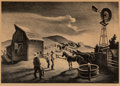 Prints, Thomas Hart Benton (American, 1889-1975). The Corral. Lithograph. 9-1/2 x 14-3/4 inches (24.1 x 37.5 cm) (image). Ed. 25...