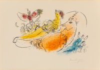 Marc Chagall (French/Russian, 1887-1985) L'Accordéoniste, 1957 Lithograph in colors on Rives BFK pap
