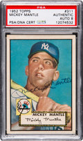 Baseball Cards:Singles (1950-1959), 1952 Topps Mickey Mantle #311, PSA/DNA Autograph Grade NM-MT 8....