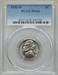 Jefferson Nickels, (5) 1952-D 5C MS66 PCGS. ... (Total: 5 coins)