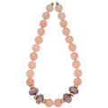 Estate Jewelry:Necklaces, Rose Quartz, Amethyst, Gold, Gold-Plated Necklace. ...