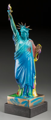 Peter Max (American, b. 1937) Statue of Liberty, 1990 Hand-painted bronze sculpture 22-1/2 x 6-1/