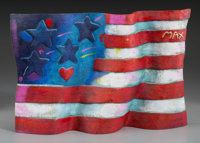 Peter Max (American, b. 1937) Flag with Heart, 1991 Hand-painted bronze sculpture 17 x 11-1/2 x 3