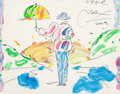 Fine Art - Painting, American:Contemporary   (1950 to present)  , Peter Max (American, b. 1937). Umbrella Man, 2005. Acrylicon paper. 15-1/4 x 19-1/4 inches (38.7 x 48.9 cm) (sight). Si...