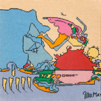 Peter Max (American, b. 1937) Two Needlepoint compositions Each measures 15 x 15 inches (38.1 x 38.1