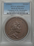 Betts Medals, Betts-42. 1666 Conquest of St. Christopher. Bronze, MS64 BrownPCGS. ...
