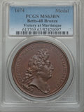 Betts Medals, Betts-48. 1674 Victory at Martinique. Bronze. MS63 Brown PCGS....