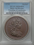 Betts Medals, Betts-144. 1720 Founding of Louisbourg. Bronze. MS64 Brown PCGS....