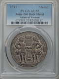 Betts Medals, Betts-246. (1741) Vernon, Brown, and Walpole. Silvered Bronze. AU55PCGS. Adams-Chao NLv 8-G, R-5....