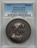 Betts Medals, Betts-44. 1670 British Colonization. Silver. AU50 PCGS. ...