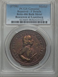 Betts Medals, Betts-406. 1758 Boscawen at Louisburg, Bath Metal -- Repaired --PCGS Genuine. Fine Details....