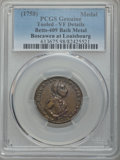 Betts Medals, Betts-409. 1758 Boscawen at Louisbourg, Bath Metal -- Tooled --PCGS Genuine. VF Details....