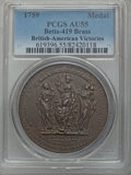 Betts Medals, Betts-419. Victories of 1758 and 1759. Brass. AU55 PCGS....