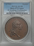 Betts Medals, Betts-479. 1760 Charles III Proclamation of Mexico City. Bronze.AU58 PCGS....