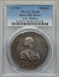 Betts Medals, Betts-482. 1760 Charles III Proclamation of the Mexican Consulate.Silver. XF40 PCGS....