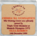 Olympic Collectibles:Autographs, 1999 Chimea'ra Gymnastic Training Centre Plaque Presented to Olga Korbut from The Olga Korbut Collection....