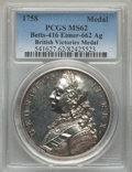 Betts Medals, Betts-416. Victories of 1758. Silver. MS62 PCGS....