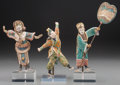 Asian:Chinese, Three Chinese Polychrome Pottery Opera Actor Figures with Stands.11-1/2 inches high (29.2 cm) (tallest, without stand). P... (Total:3 Items)