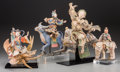 Asian:Chinese, A Group of Four Chinese Polychrome Pottery Taoist Deities withStands. 14-1/4 inches high (36.2 cm) (largest, without stand)...(Total: 4 Items)