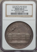 Betts Medals, Betts-446. 1763 Messenger of Peace. Silver. MS63 NGC....