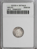 Early Half Dimes: , 1803 H10C Large 8 --Damaged--ANACS. Good 4 Details. LM-2. PCGSPopulation (2/81). NGC Census: (0/46). Mintage: 37,850. Num...