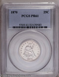 Proof Seated Quarters: , 1870 25C PR61 PCGS. PCGS Population (16/111). NGC Census: (2/96).Mintage: 1,000. Numismedia Wsl. Price: $492. (#5569)...
