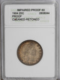 Proof Barber Quarters: , 1904 25C --Cleaned, Retoned--ANACS. Impaired Proof 60. PCGS Population (5/194). NGC Census: (0/205). Mintage: 670. Numismed...