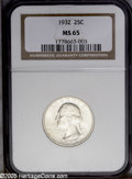 Washington Quarters: , 1932 25C MS65 NGC. PCGS Population (371/95). NGC Census: (257/56).Mintage: 5,404,000. Numismedia Wsl. Price: $352.(#5790)...