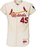 Baseball Collectibles:Uniforms, 1969 Bob Gibson Game Worn St. Louis Cardinals Jersey, MEARS A8.5....
