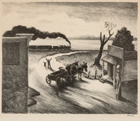 Thomas Hart Benton (American, 1889-1975) Edge of Town Lithograph 8-3/4 x 10-3/4 inches (22.2 x 27