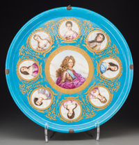 A Sèvres-Style Gilt and Painted Porcelain Portrait Charger, late 19th century Marks: (pseudo Sèvres marks)...