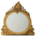 Furniture : Continental, A Large Rococo Revival Carved and Giltwood Overmantle Mirror, late19th century. 61-1/4 inches high x 56 inches wide (155.6 ...
