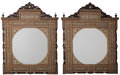 Furniture , A Pair of Moorish Wood, Bone, and Mother-of-Pearl Inlaid Mirrors, 21st century. 43-5/8 inches high x 34-7/8 inches wide (110... (Total: 2 Items)