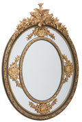 Furniture : Continental, A Monumental Louis XVI-Style Painted and Partial Gilt Oval Mirror, 20th century. 74-1/2 inches high x 52-7/8 inches wide (18...