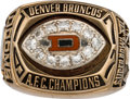 Football Collectibles:Others, 1977 Denver Broncos AFC Championship Ring Presented to Riley Odoms....