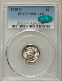 1938-D 10C MS67+ Full Bands PCGS. CAC. PCGS Population: (352/20 and 49/1+). NGC Census: (207/8 and 4/0+). CDN: $240 Whsl...